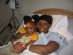 Denise and Mia at the hospital