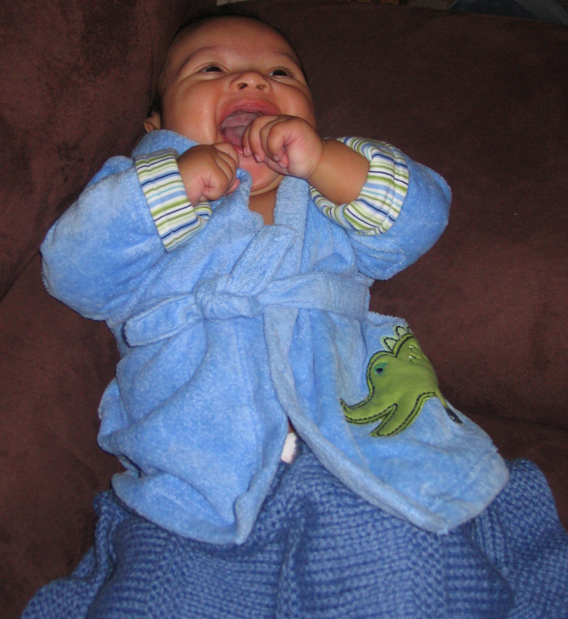 Nicholas after a bath in his bathrobe