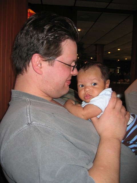 Eating out in Bloomington - pass the baby Dad's turn