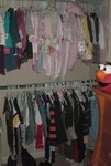 Making room in the closet for Akilah's clothes