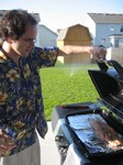 Drew grilling salmon